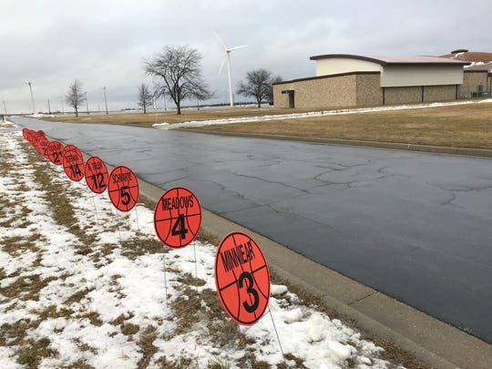 The road leading into Benton Central is decorated with basketballs for every member of the Bison girls basketball roster.