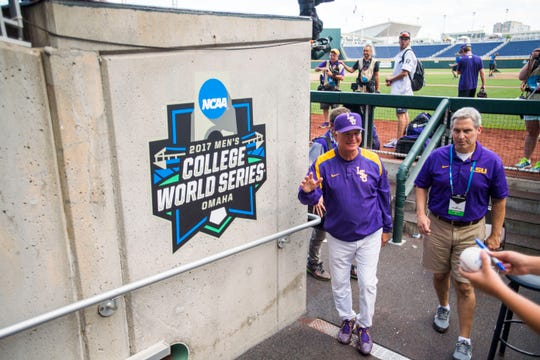 The Voice of Alex Box, Bill Franques (right), is shown here with LSU head baseball coach Paul Mainieri during the 2017 men's College World Series in Omaha, Nebraska.