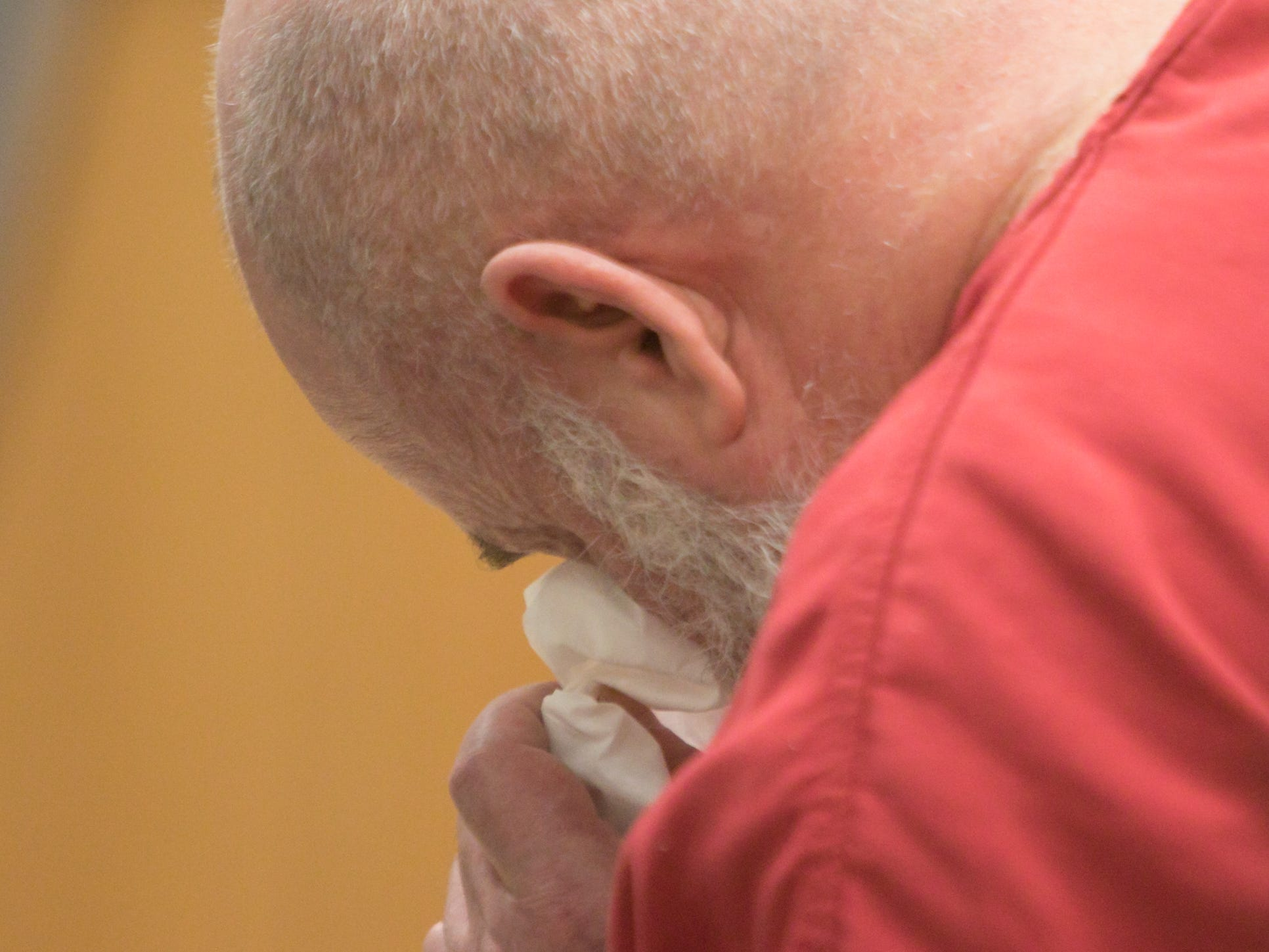 Michael Mapes appears to wipe a tear after reading an apology during his sentencing Thursday, Feb. 21, 2019.