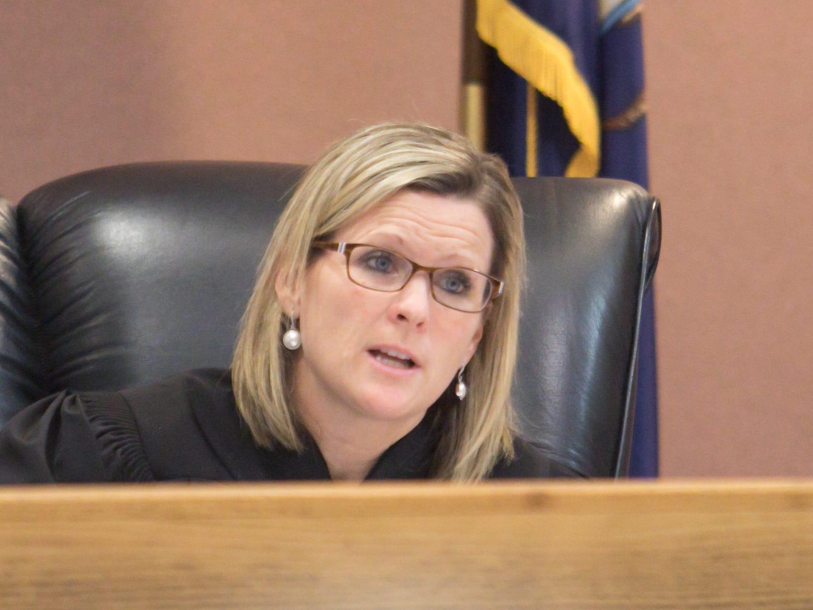 Livingston County Chief Judge Miriam Cavanaugh presides over the sentencing hearing of Michael Mapes Thursday, Feb. 21, 2019.
