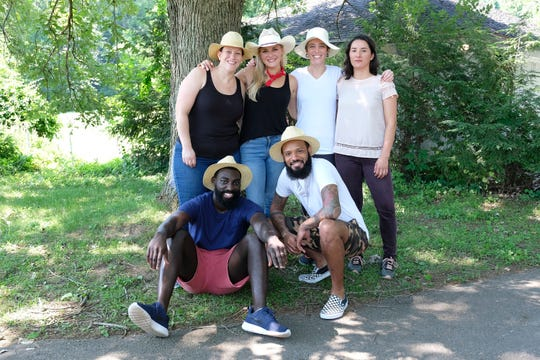 """(From left to right): Contestants Sara Bradley, Eric Adjepong, Kelsey Barnard, Justin Sutherland, Adrienne Wright and Michelle Minori on """"Kentucky Farewell,"""" episode 12 of Bravo's 'Top Chef:' Kentucky season."""