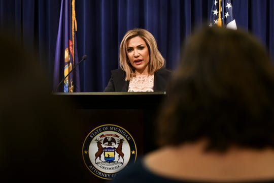 Michigan Solicitor General Fadwa Hammoud speaks about the prosecution of Flint water cases Thursday, Feb. 21, 2019, during a press conference at the Attorney General's office in downtown Lansing, Michigan.  [MATTHEW DAE SMITH/Lansing State Journal]