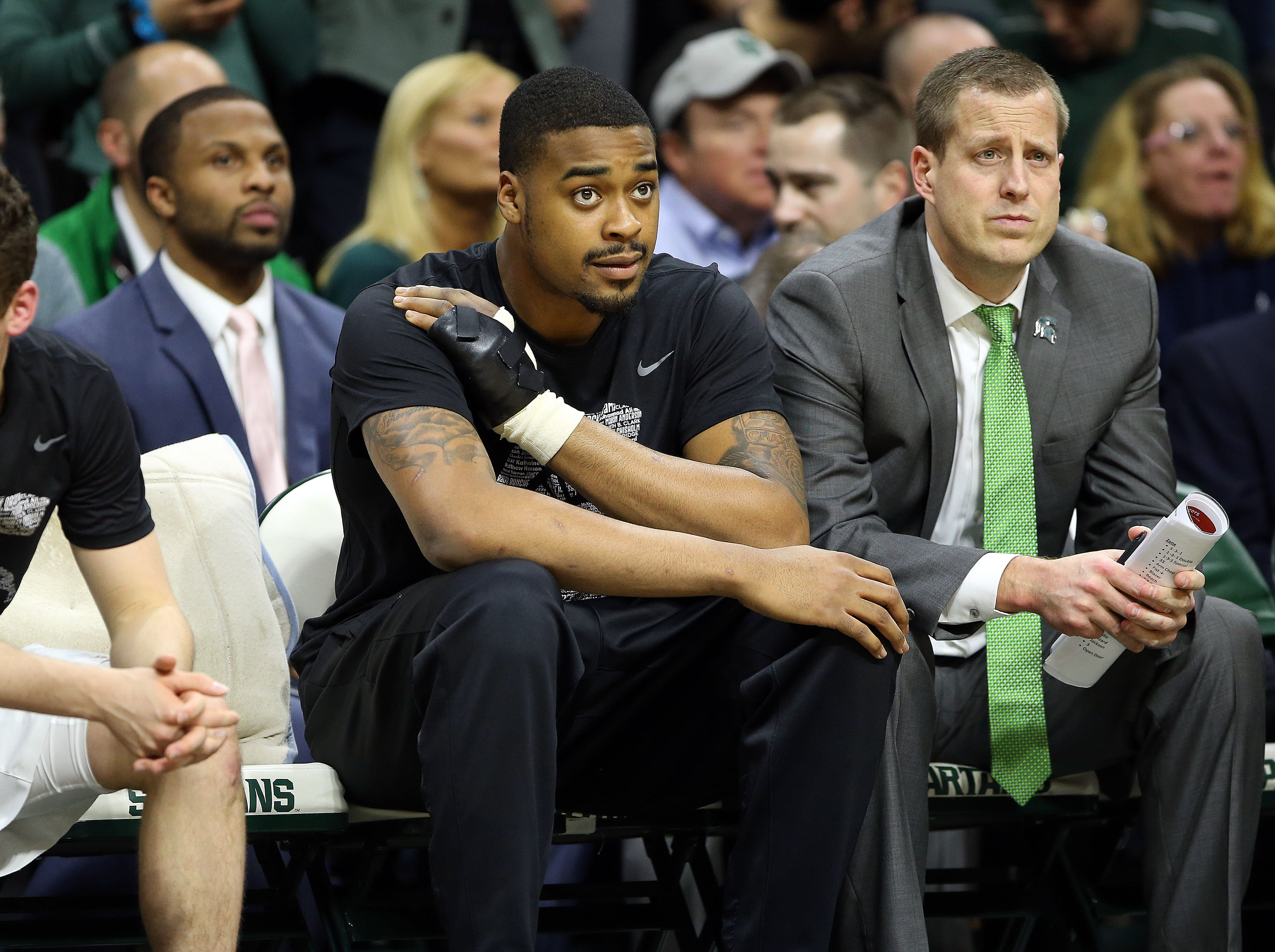 Feb 20, 2019; East Lansing, MI, USA; Michigan State Spartans forward Nick Ward (44) sits on the bench during the second half of a game against the Rutgers Scarlet Knights at the Breslin Center. Mandatory Credit: Mike Carter-USA TODAY Sports