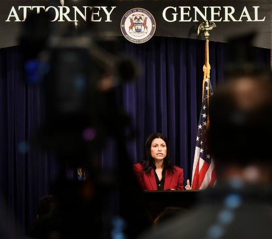Michigan Attorney General Dana Nessel talks during a press conference updating reporters on her office's investigation into Michigan State University and its handling of the Larry Nassar scandal on Feb. 21, 2019