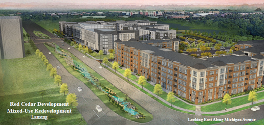 A rendering of the plans for the new Red Cedar Development project along Michigan Avenue. The view is looking east, toward campus. Plans include 1,100 beds of student housing.