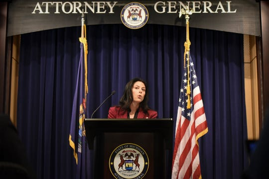 Michigan Attorney General Dana Nessel speaks during a press briefing on her office's investigation into the Larry Nassar scandal at Michigan State University on Feb. 21, 2019