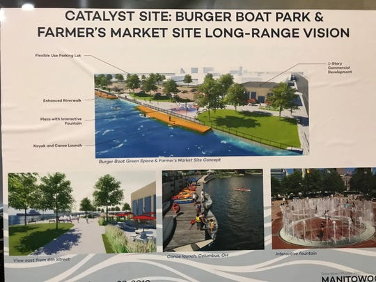 A sign shows a long-range vision for Burger Boat Park which includes a splash pad, waterfront walk and kayak/canoe launch.