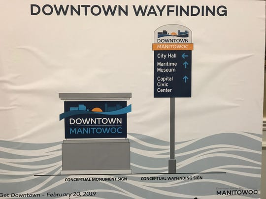 A sign shows wayfinding sign concepts for the downtown. The Manitowoc Downtown Master Plan includes increasing wayfinding signage to make the downtown area easier to navigate, particularly for tourists.