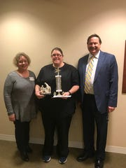 Sandra DaVore, of The Villa, was named Service Excellence Star Award winner for the month of January. Pictured from left: Lisa Voda, assisted living manager, DaVore and Frank Soltys, president/CEO.