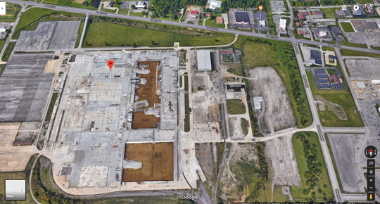 A screenshot of the former GM plant at 2525 West Fourth Street in Ontario, near the intersection of Stumbo Road.