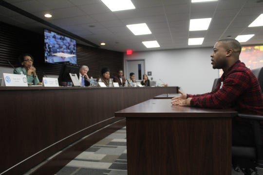 Trent Collier speaks to the Memphis Civilian Law Enforcement Review Board on Jan. 10, describing when a Memphis police officer in 2017 turned off his body-worn camera and used excessive force.