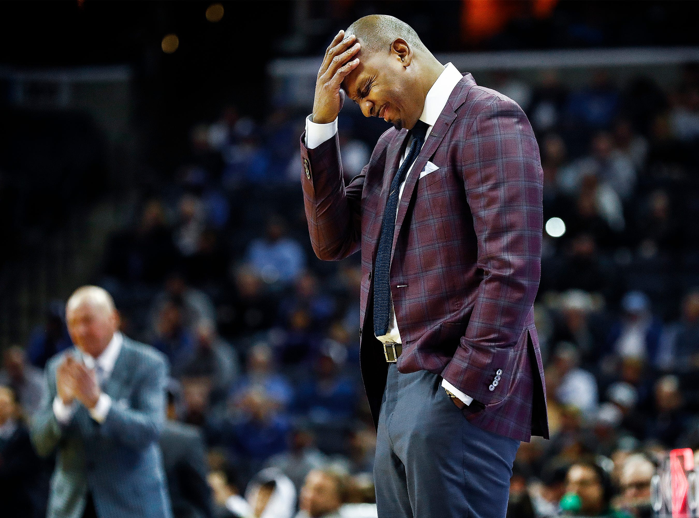 Memphis head coach Penny Hardaway during a 102-76 victory over Tulane at the FedExForum, Wednesday, February 20, 2019.