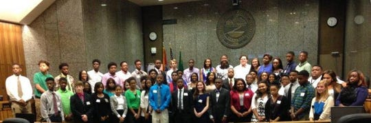 A previous class of interns in Shelby County's Summer Youth Program poses for a photo.