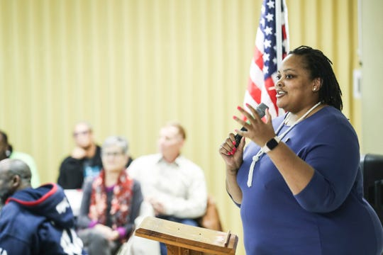 Shelby County Commissioner Tami Sawyer speaks to the Frayser Exchange Club on Thursday. The club, which celebrated its 50th anniversary on Thursday, has been in existence for a quarter of Memphis' existence.