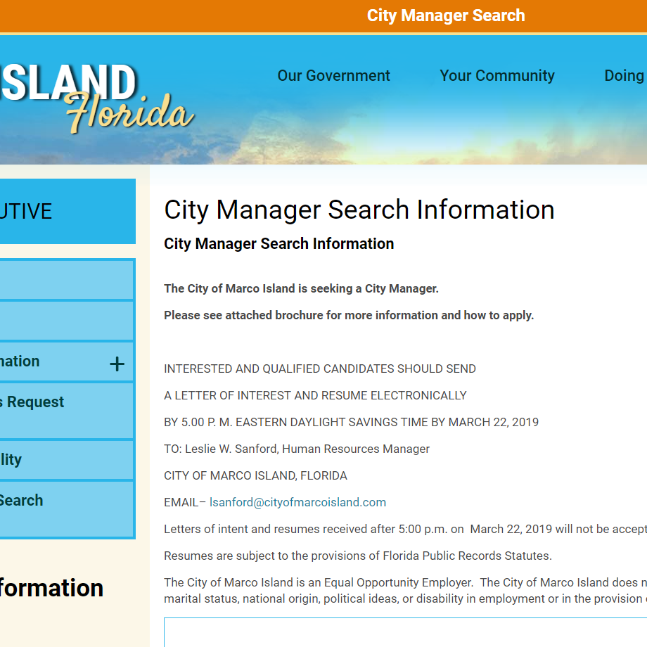 Applications for Marco Island city manager search due by March 22