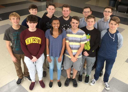 Members of Muskego High School's senior Engineering Design and Development class are (front row, from left): Ryan Kaufman, Jasmine Narine, Derick Donnelly, Chandler Frakes and Luke Miller; back row: Ian Schultz, Ethan Jacoy, Jack Maher, Isaac Ozolins, Sean Mahaffy and Bryce Brzycki.