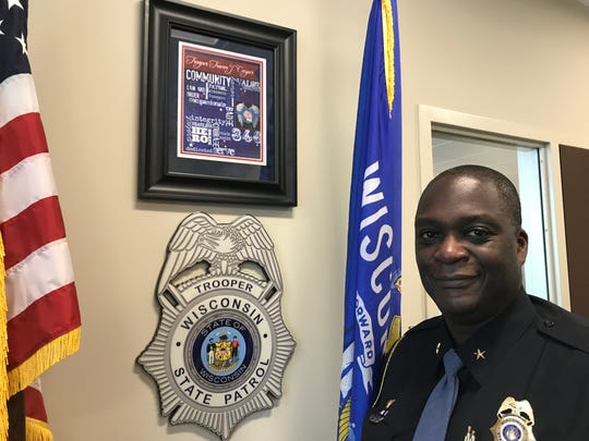 Anthony Burrell was recently named superintendent of the Wisconsin State Patrol. Burrell responded to the scene of Trooper Trevor Casper's slaying by a bank robber in Fond du Lac in 2015 and keeps artwork celebrating Casper's life in his Madison office.