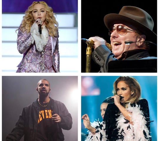 Artists like (from top left to right) Madonna, Van Morrison, Jennifer Lopez and Drake have either not played Milwaukee in at least three decades, or have never performed in the city at all.