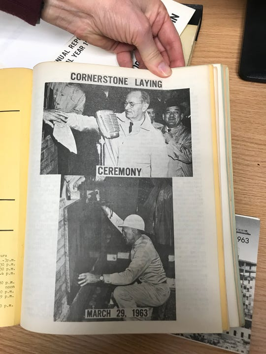 An article about the laying of a cornerstone in 1963 at the under construction Milwaukee VA Medical Center was featured in a publication called the Wood Tattler, written by patients.