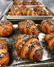 Croissants, like these everything croissants, will be a mainstay at Milk Bottle Bakery, part of the 3rd Street Market Hall food hall coming to downtown.