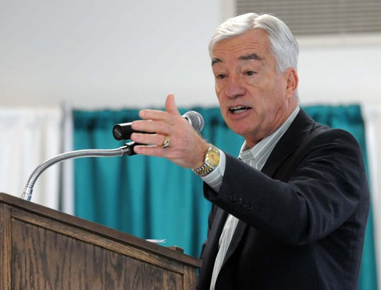 County Board Chairman Paul Decker speaks at a recognition celebration at the kick-off of Sussex Spring Fest in 2014. Decker recently battled through a second bout with cancer.