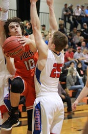 Viola's Gage Harris goes up for a shot against Hillcrest on Wednesday night.