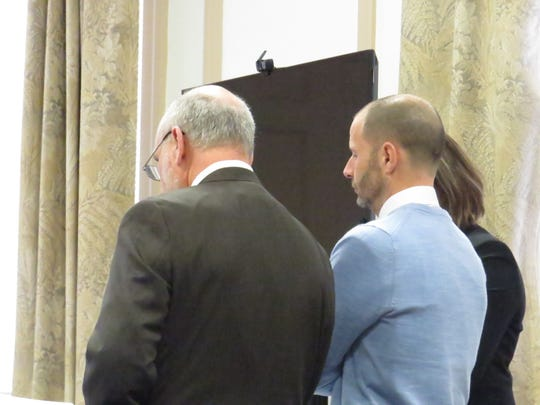 Former attorney Gerald Saluti Jr. appears in Morristown Superior Court Thursday, Feb. 21, 2019, to plead guilty to fraud and conspiracy charges. He admitted to bilking four clients our of almost $140,000. Another former attorney, Richie Roberts, pleaded not guilty and received a trial date of April 1.