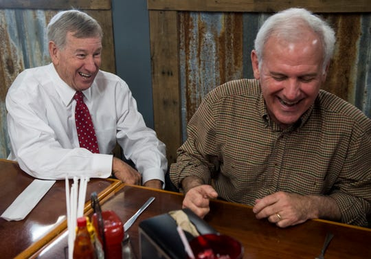 Mayor Todd Strange and U.S. Rep. Bradley Byrne joke around at Yellowhammer Cafe in Montgomery, Ala., on Thursday, Feb. 21, 2019.