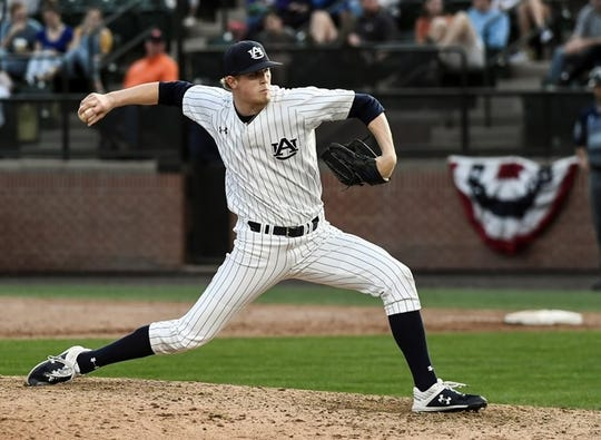 Auburn right-hander Ryan Watson pitches against Georgia Southern on Feb. 16, 2019.