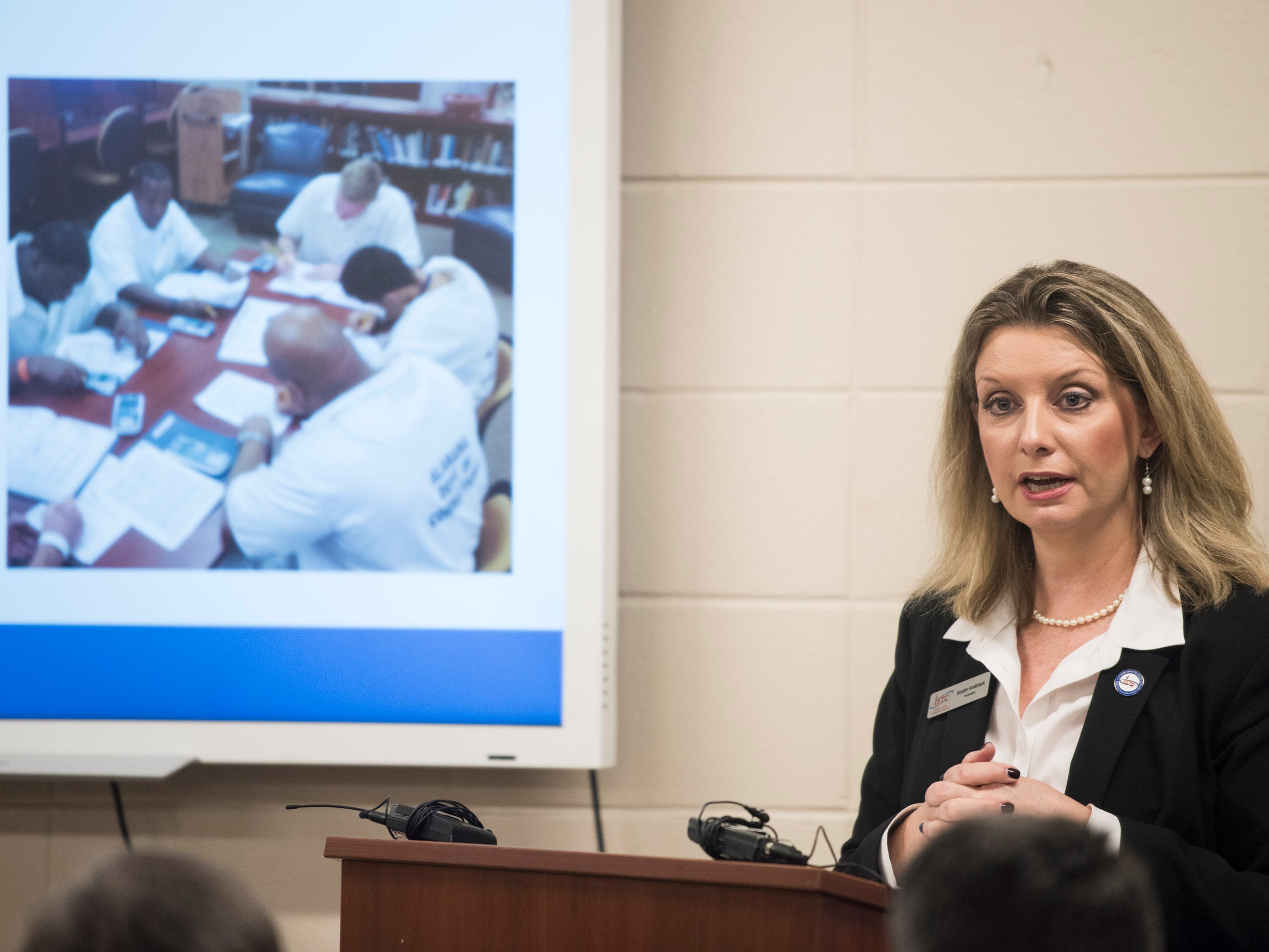 ISTC president Annette Funderburk speaks to officials at the Ingram State Technical College Draper instructional service center in Elmore, Ala., on Thursday, Feb. 21, 2019.
