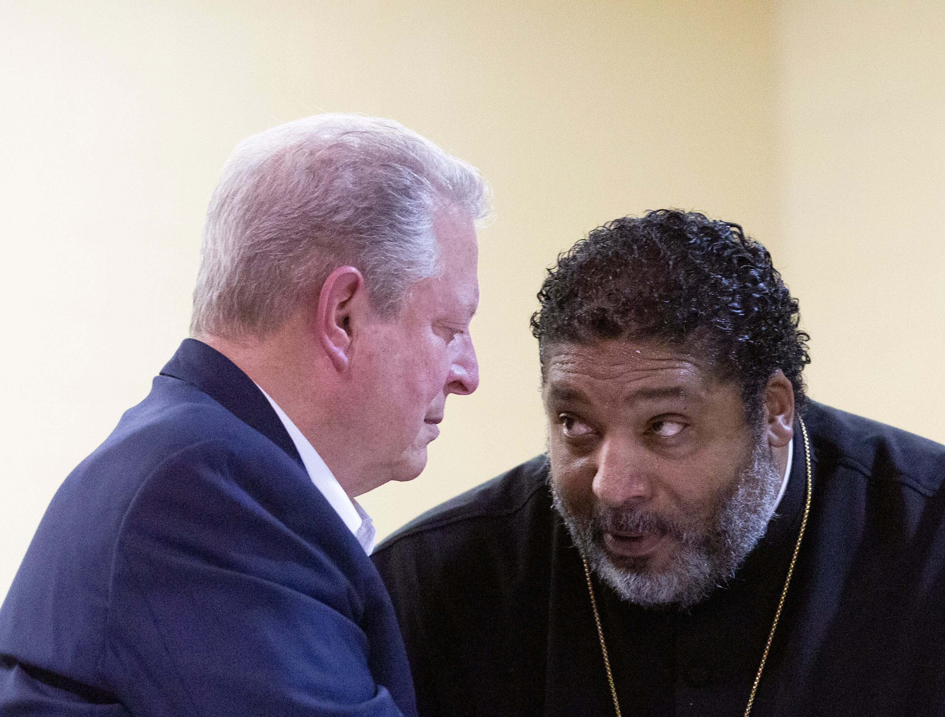 Former Vice President Al Gore and the Rev. Williams Barber II met with community members to discuss wastewater issues in Lowndes County but also other environmental injustices in the Black Belt and across the country.