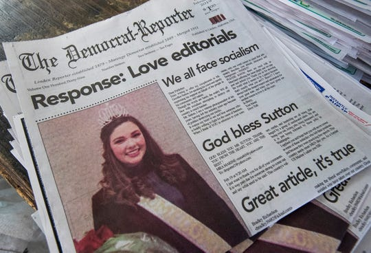 Goodloe Sutton, publisher of the Democrat-Reporter newspaper, used the front page of his paper to publish positive responses to his controversial editorial in the paper, shown at the newspaper office in Linden, Ala., on Thursday February 21, 2019.