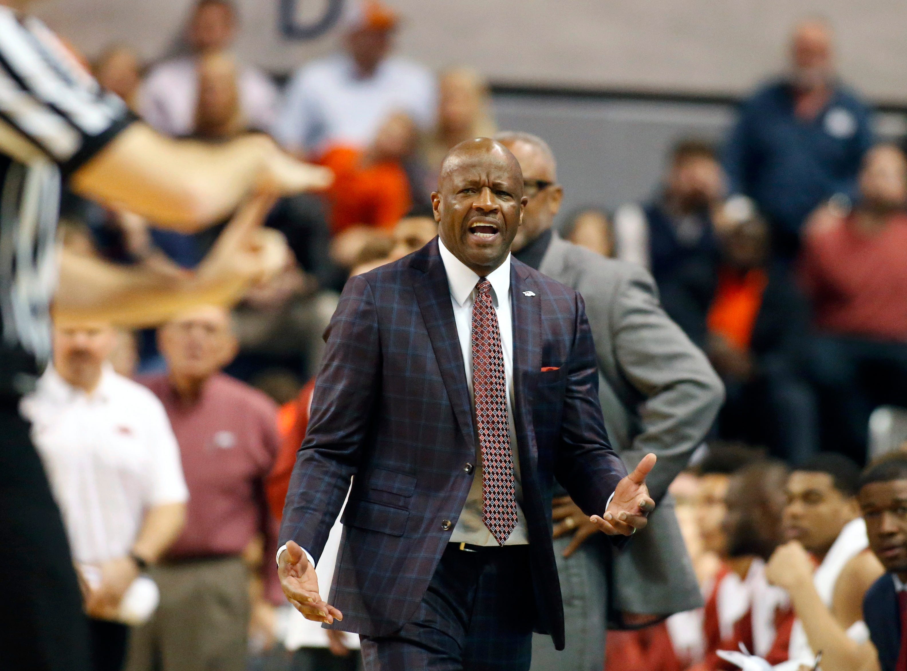 Feb 20, 2019; Auburn, AL, USA; Arkansas Razorbacks head coach Mike Anderson reacts as an official calls a technical foul on the Razorbacks during the first half against the Auburn Tigers at Auburn Arena. Mandatory Credit: John Reed-USA TODAY Sports