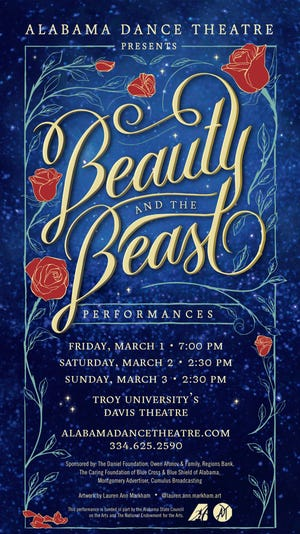 "Alabama Dance Theatre presents ""Beauty & the Beast"" on March 1-3 at Troy University's Davis Theatre in Montgomery."
