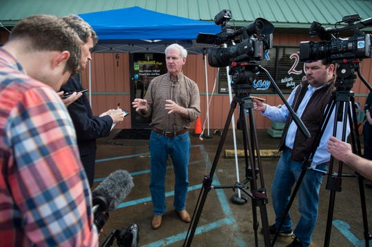U.S. Rep. Bradley Byrne speaks to media about his senate candidacy at Yellowhammer Cafe in Montgomery, Ala., on Thursday, Feb. 21, 2019.