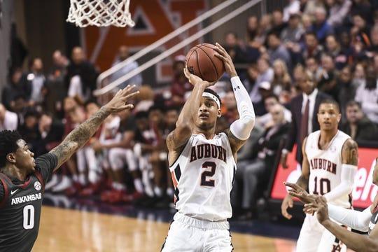 Auburn guard Bryce Brown shoots against Arkansas on Feb. 20, 2019.