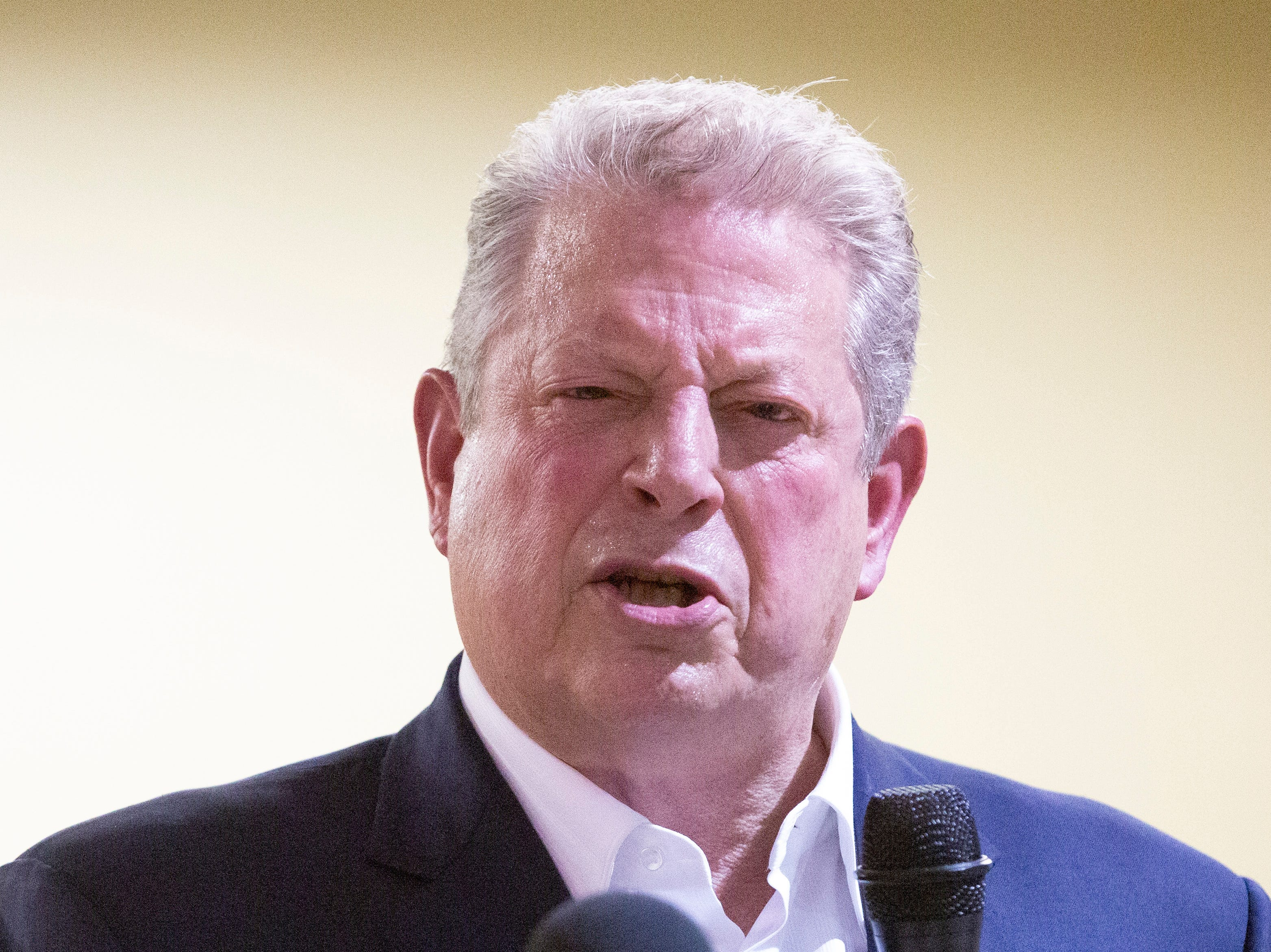 Former Vice President Al Gore rants against environmental injustices, to include inadequate wastewater infrastructure in Lowndes County, during a town hall style meeting at the Jackson-Steele Community Center.