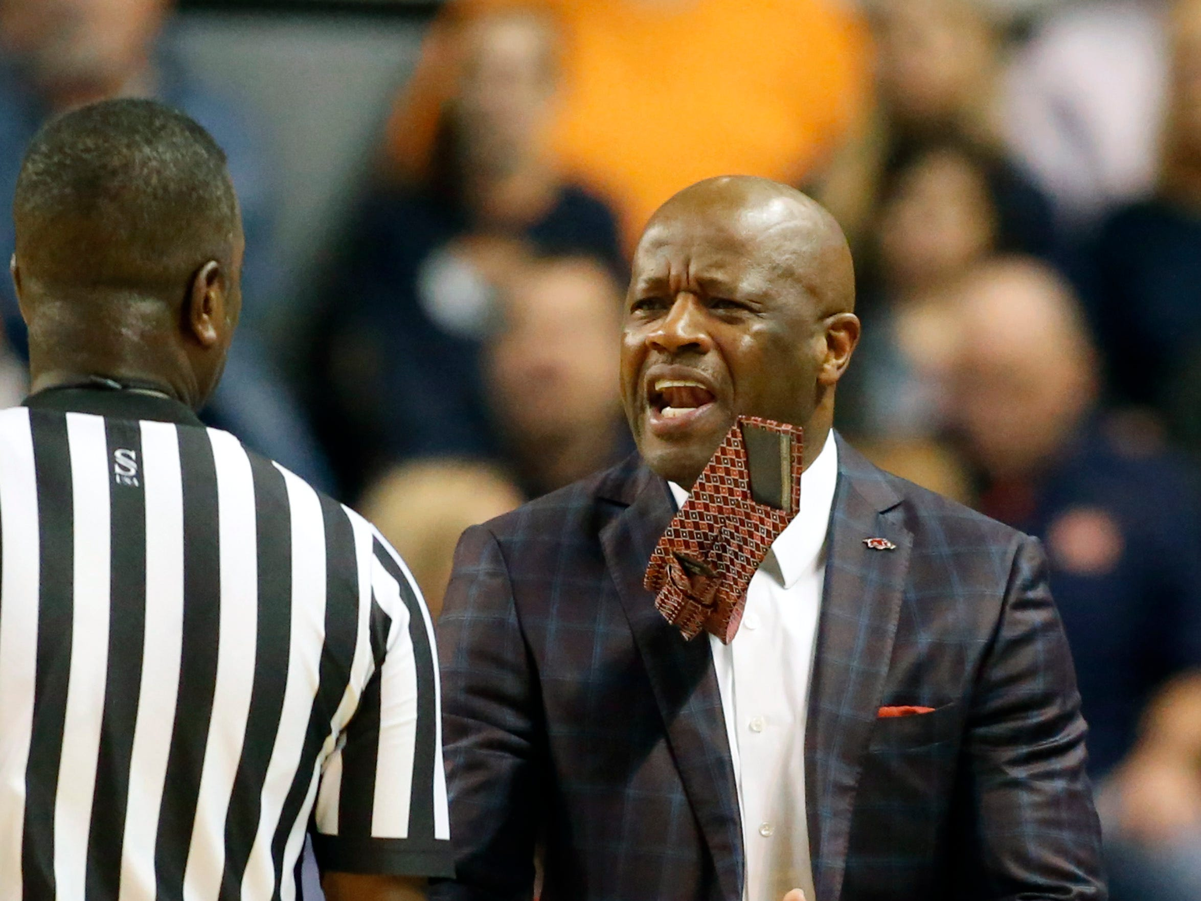 Feb 20, 2019; Auburn, AL, USA; Arkansas Razorbacks head coach Mike Anderson reacts after a technical foul is called on the Razorbacks during the first half against the Auburn Tigers at Auburn Arena. Mandatory Credit: John Reed-USA TODAY Sports