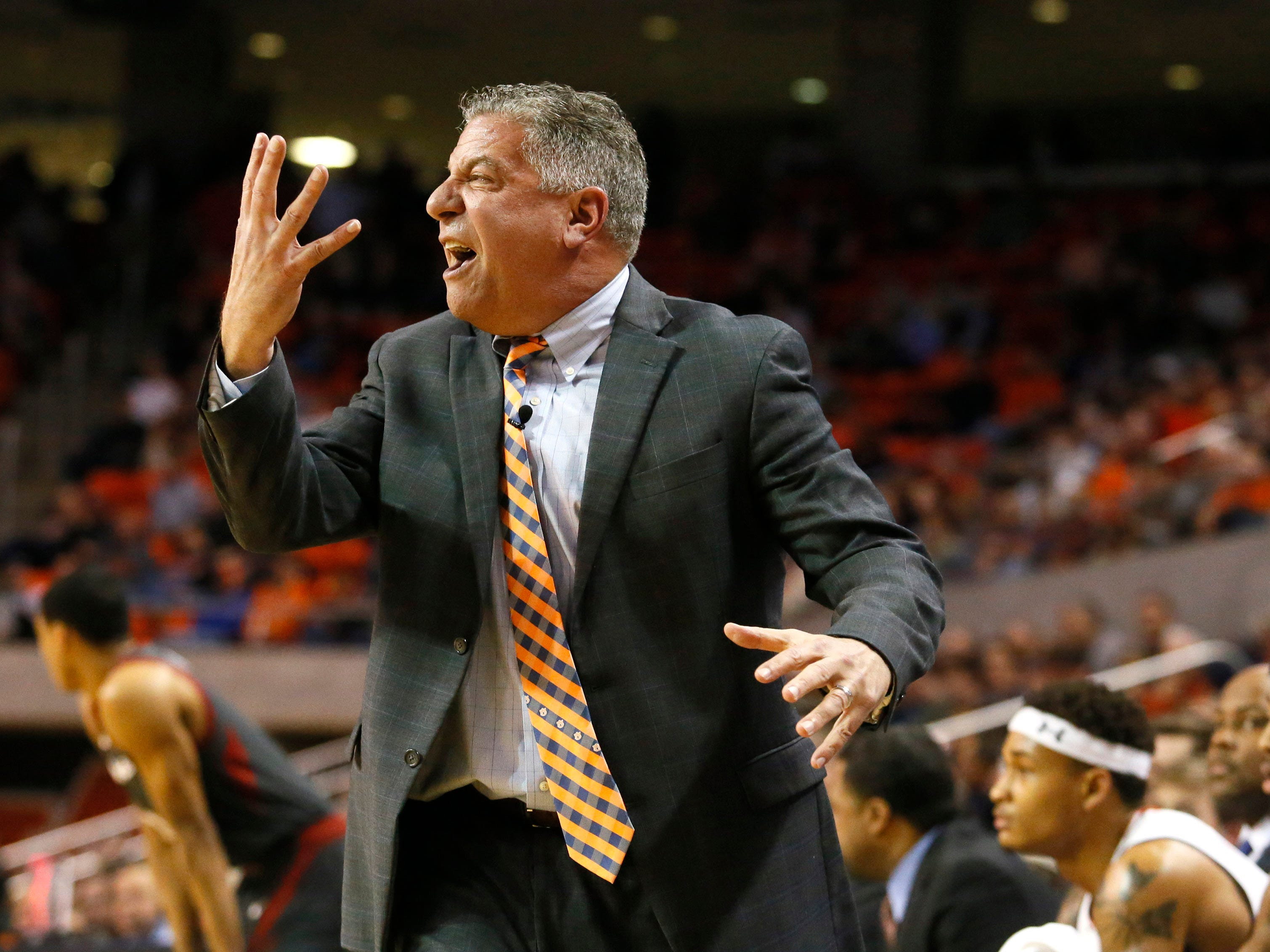 Auburn head coach Bruce Pearl reacts to a call during the first half against Arkansas at Auburn Arena on Feb. 20, 2019.