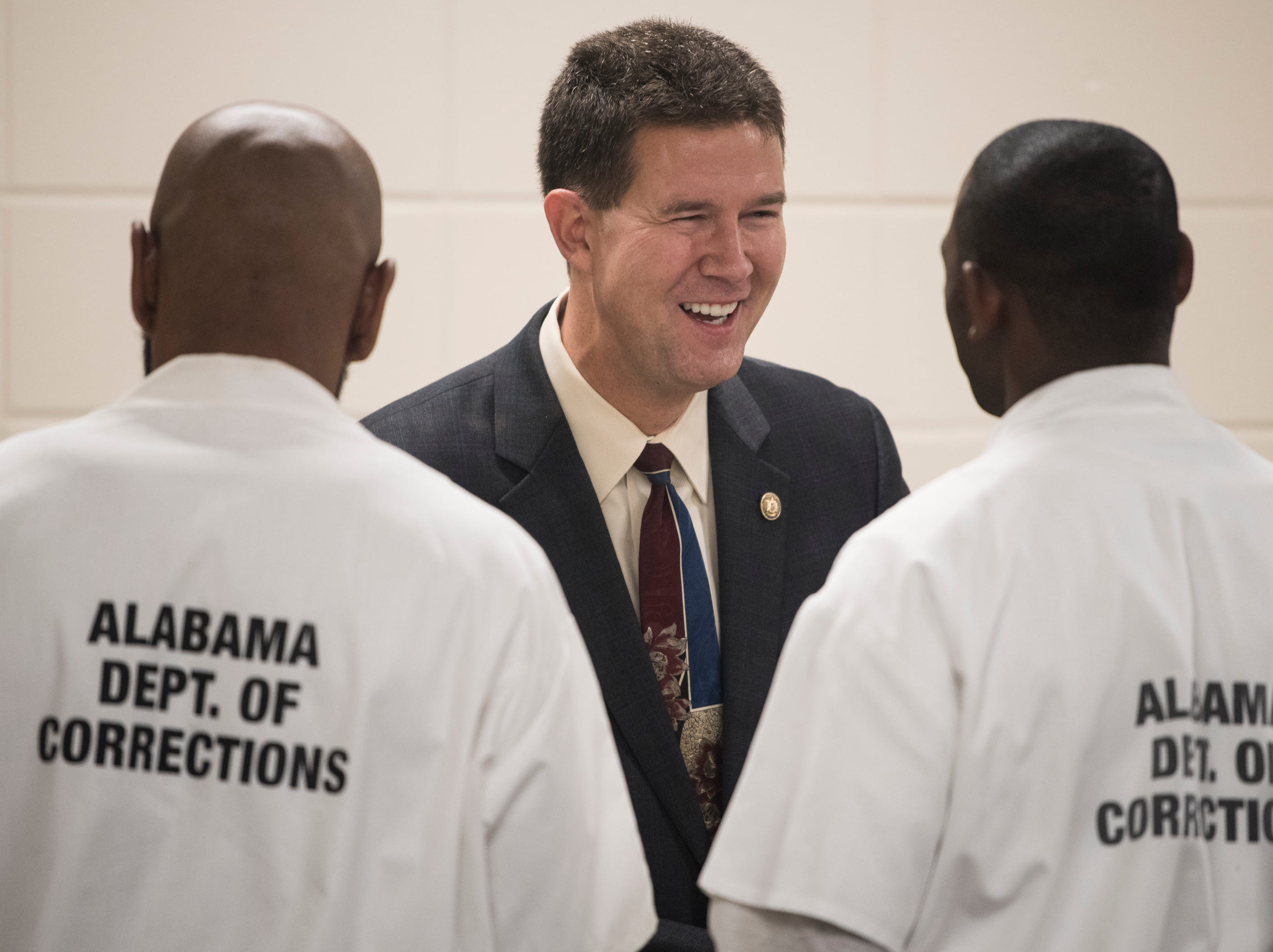 Alabama Secretary of State John Merrill meets student-inmates at the Ingram State Technical College Draper instructional service center in Elmore, Ala., on Thursday, Feb. 21, 2019.