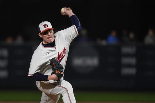 Auburn left-hander Elliott Andersen (14) pitches against Georgia Southern on Friday, February 15, 2019, in Auburn, Ala.