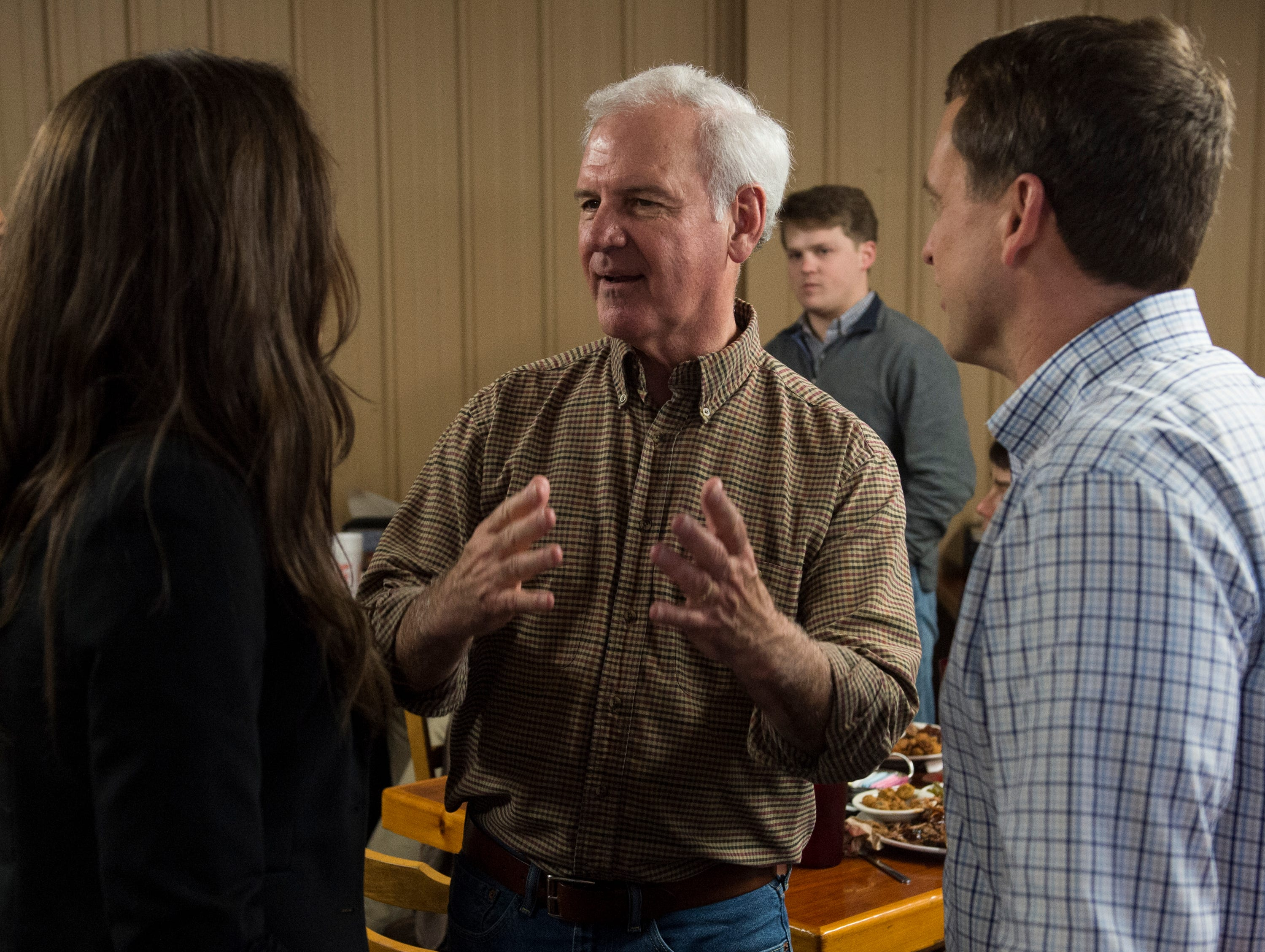 U.S. Rep. Bradley Byrne talks with supporters at Yellowhammer Cafe in Montgomery, Ala., on Thursday, Feb. 21, 2019.