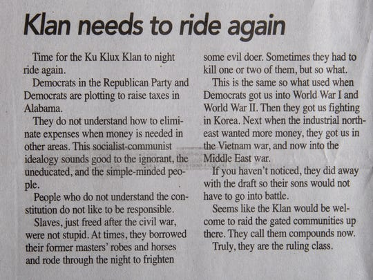 Goodloe Sutton, publisher of the Democrat-Reporter newspaper, wrote an editorial calling for the KKK to clean up Washington DC in the February 14, 2019 issue of his newspaper.
