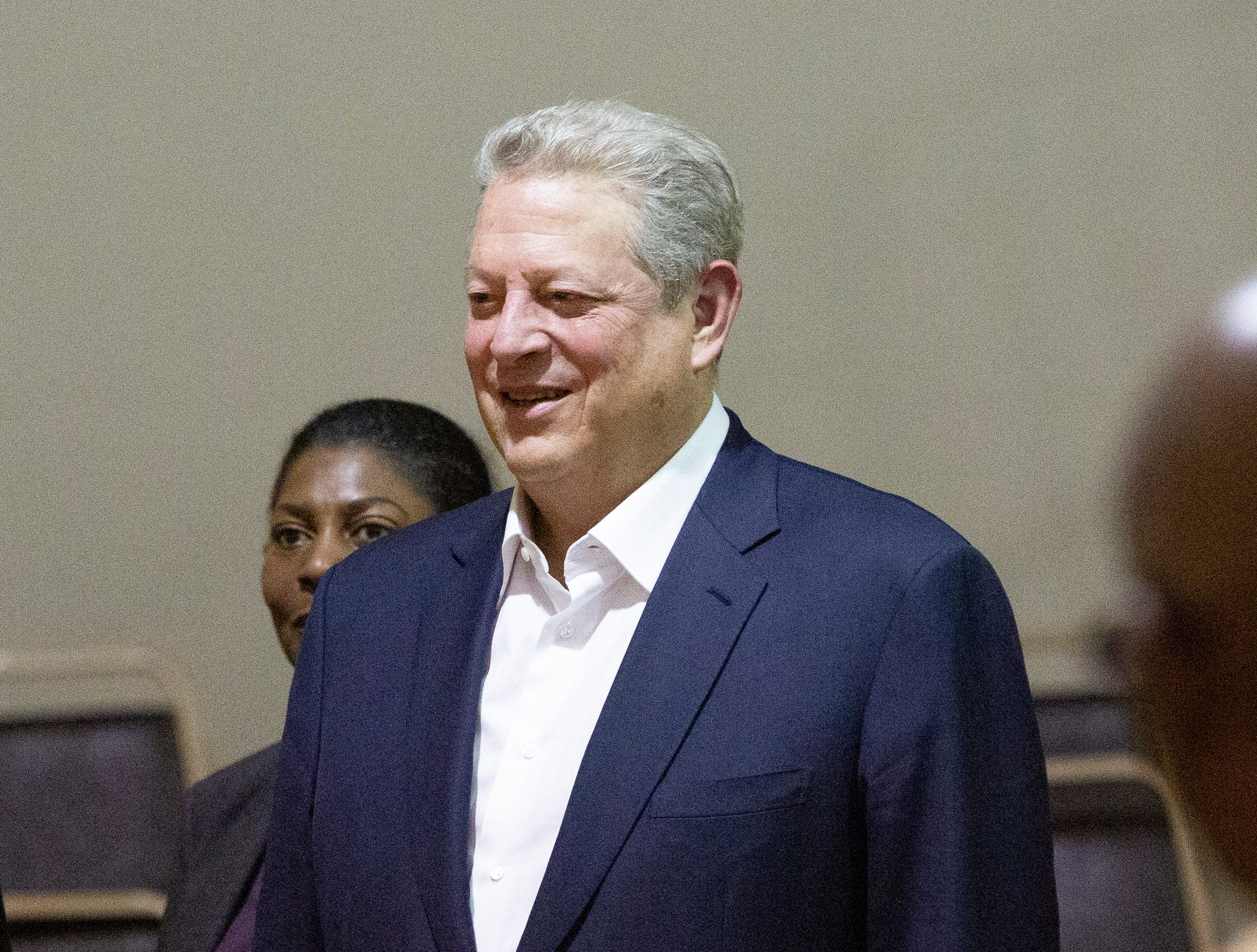 Former Vice President Al Gore is welcomed to the Jackson-Steele Community Center in Lowndes County before a town hall style meeting on environmental injustices in the Black Belt and other low-incomes communities in the United States.