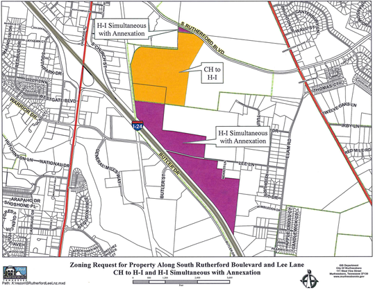 The gold and purple areas on this Murfreesboro Planning Department map show proposed heavy industrial zoning and annexation for a factory and corporate office on South Rutherford Boulevard near the Interstate 24 interchange at South Church Street.