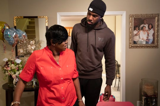Alex Poythress spends time with his mother Regina at her home Sunday, Feb. 17, 2019 in Clarksville, Tenn. His twin sister Alexis Poythress recently surprised her family when she donated a kidney to their mother helping with her fight against kidney failure.