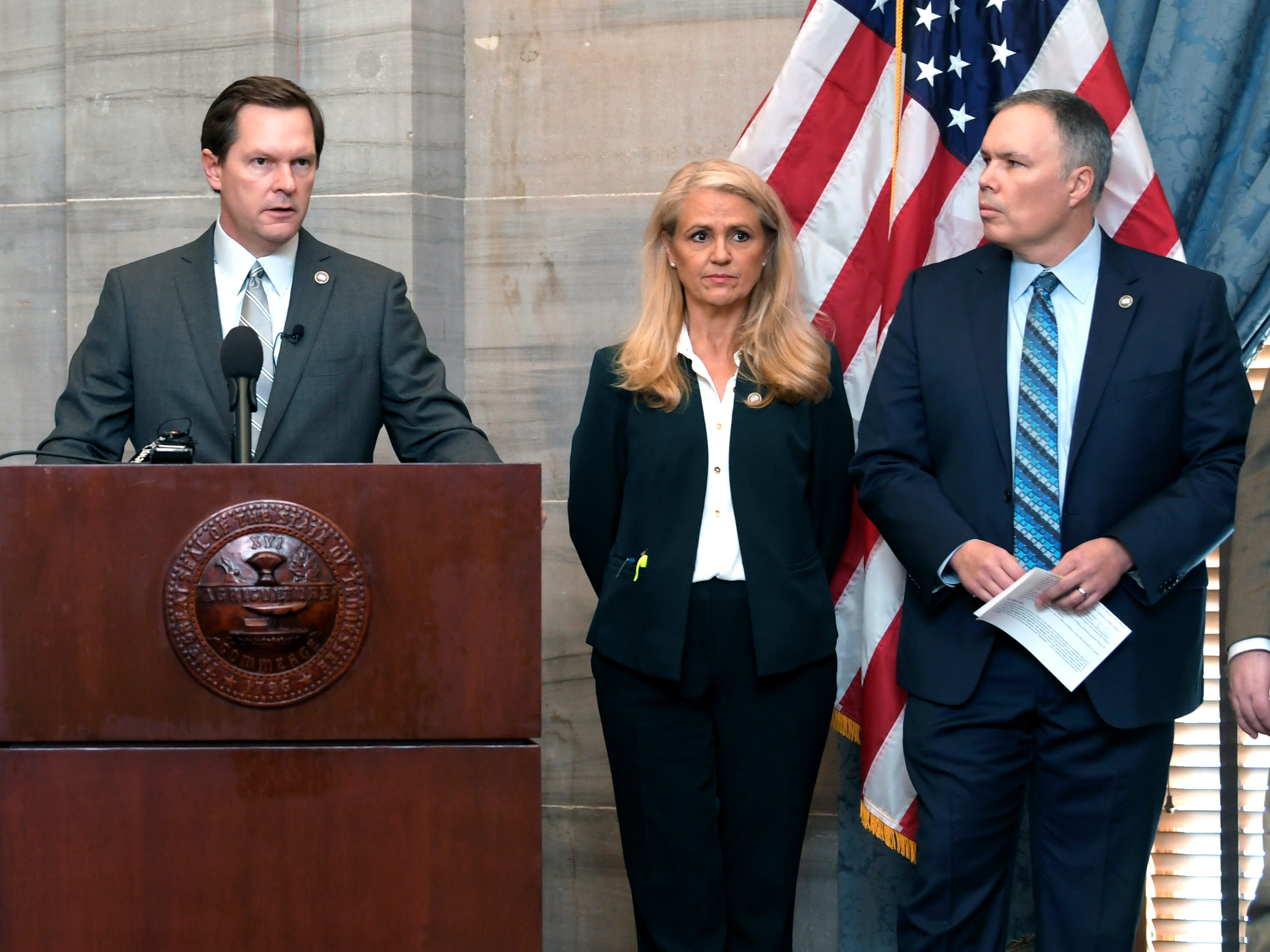 House Republican Cameron Sexton,left, and others lawmakers hold press conference inside the Supreme Court chambers of the state Capitol in Nashville on Thursday, Feb. 2, 2019 regarding health care.