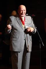 Fred Foster is making a speech after he was inducted into the Musicians Hall of Fame at the Musicians Hall of Fame Awards show at the Schermerhorn Symphony Center Oct. 12, 2009.