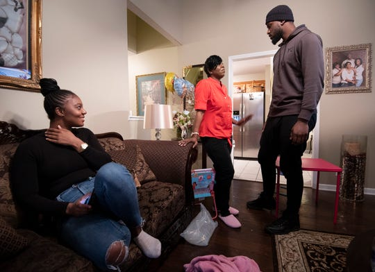 Alexis Poythress and her twin brother Alex Poythress spend time with their mother Regina at her home Sunday, Feb. 17, 2019 in Clarksville, Tenn. Alexis recently surprised her family when she donated a kidney to her mother helping with her fight against kidney failure.