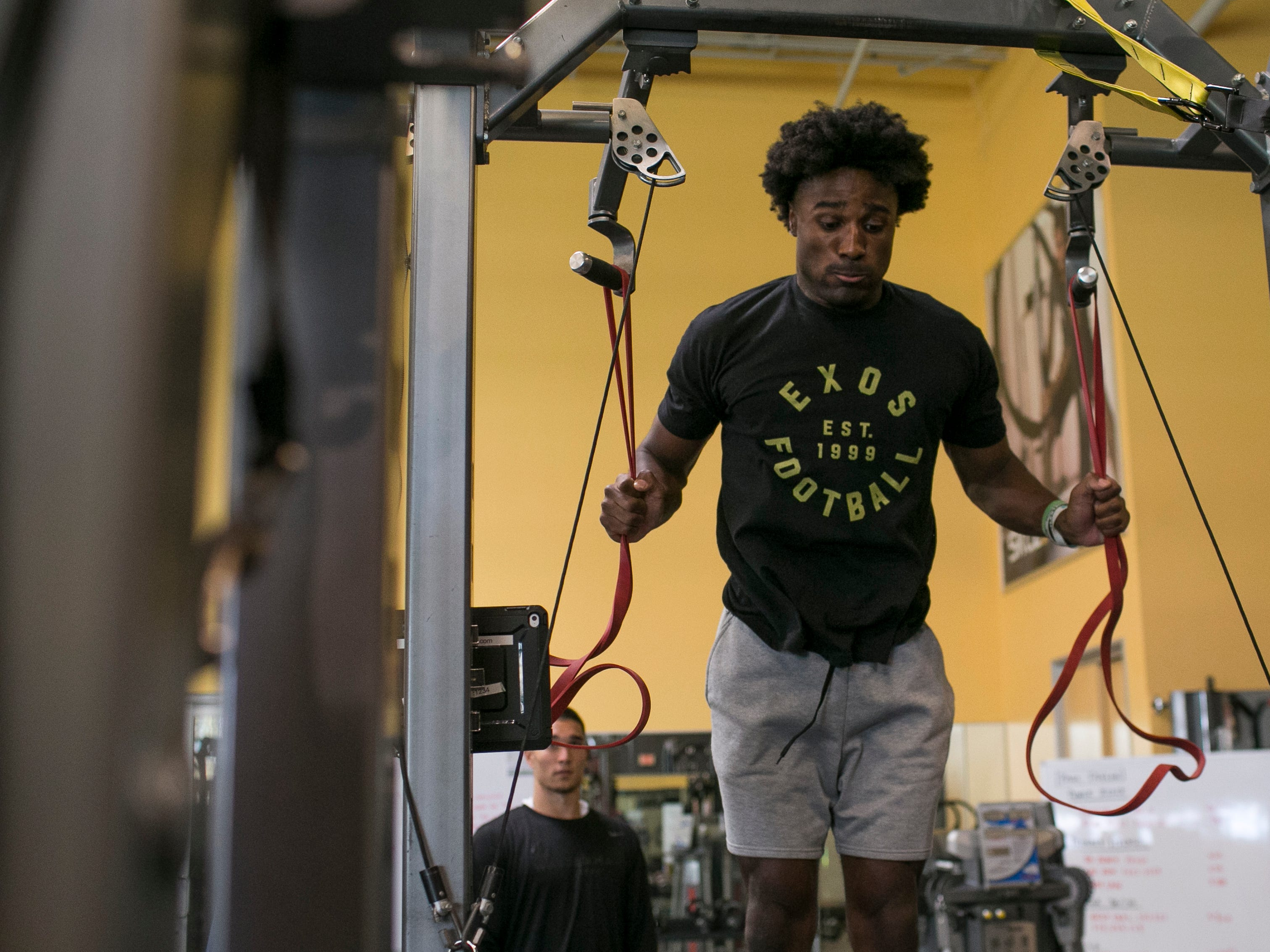 Joejuan Williams, a former defensive back for the Vanderbilt Commodores, prepares for the NFL combine at the EXOS training facility in Phoenix, Ariz., on Monday, February 18, 2019.